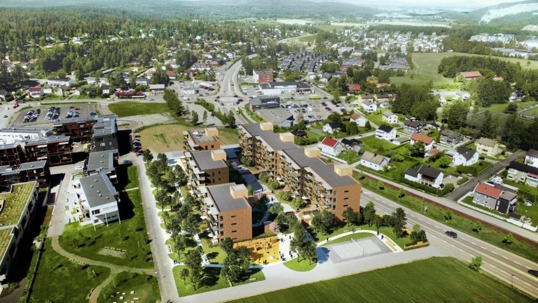 De nye leilighetene skal ligge mellom Husebyjordet omsorgsboliger og fylkesvei 120.