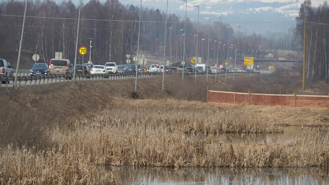 Åkersvika naturreservat med dagens E6.