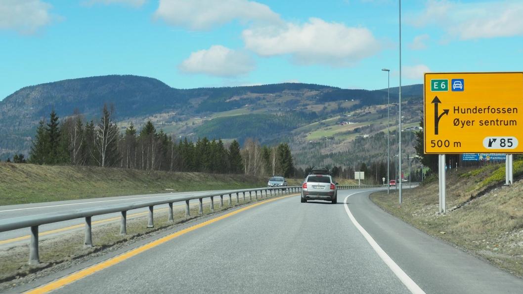 E6 i Gudbrandsdalen ved Øyer.