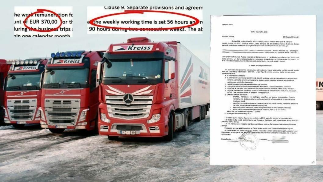 Ulovlige arbeidsforhold: Sjåfører ansatt i Kreiss forplikter seg til 56-timers arbeidsuker for 370 euro i månedslønn. Selskapet benytter Fugleåsen og Ormlia døgnhvileplass (på bildet) som operasjonsbaser.