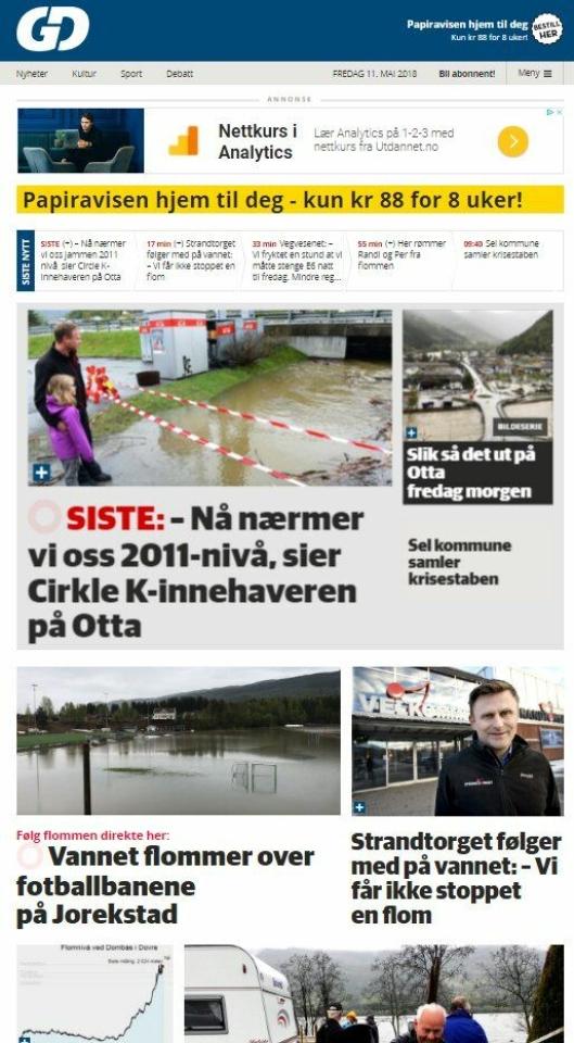 FLOM 1: Skjermbilde av Gudbrandsdals-nettstedet GD.no 11. mai 2018.