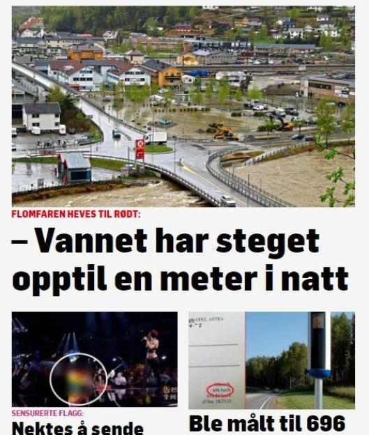 FLOM 2: Skjermbilde av TV2.no 11. mai 2018.
