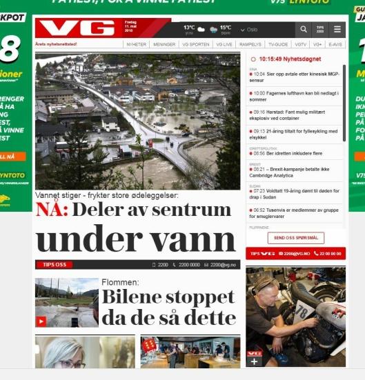 FLOM 3: Skjermbilde av VG.no 11. mai 2018.