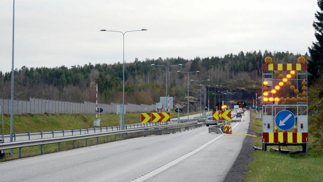 Bilde som Vegtilsynet sendte ut i forbindelse med pressemeldingen om tilsynssaken. Tunnelarbeid, i dette tilfellet uten ledebil. Foto Vegtilsynet