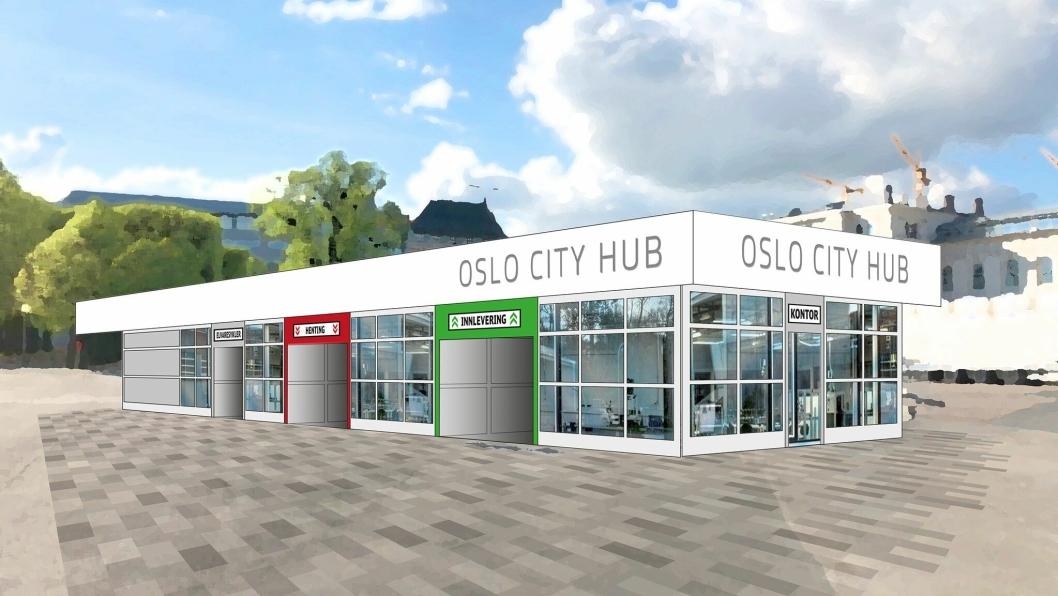 Skisse til en fremtidig mikroterminal i Oslo sentrum.