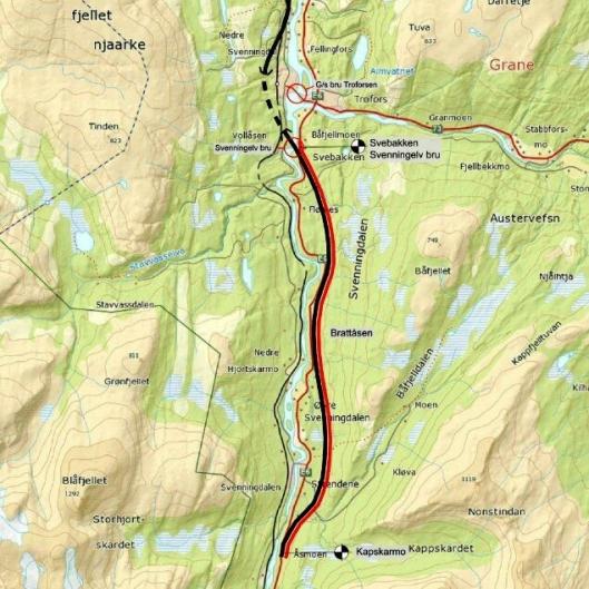 Bertensen & Garpestad AS skal bygge 12,1 kilometer ny E6 i Grane kommune. Strekningen er merket i rødt i dette kartet.