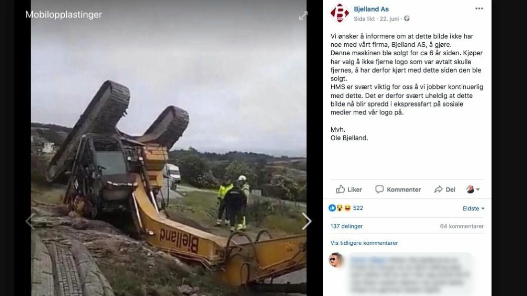 FAKSIMILE: Ole Bjelland så ingen annen utvei enn å legge ut bildet av deres gamle maskin som var veltet og fortelle at den ikke har noen ting med Bjelland AS å gjøre.