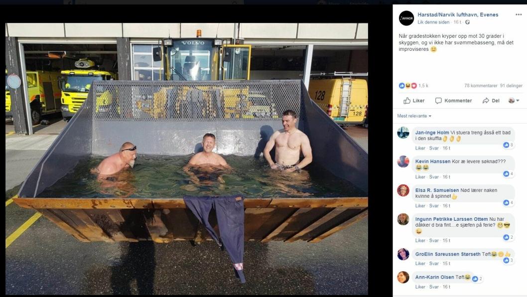 Skjermbilde fra Facebook-siden til Harstad/Narvik lufthavn, Evenes. I kommentarfeltet er det flere som ønsker å stikke bortom hjullasteren for et bad i skuffa.