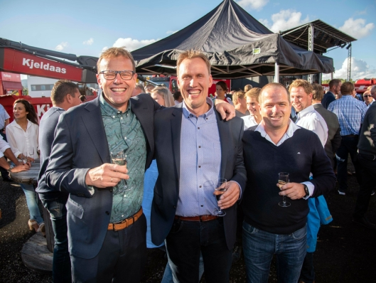 FORNØYDE: De tre eierne Hendrik Panman (t.v), Thor Ambjørn Kjeldaas og Håkon Beheim var i knallhumør.
