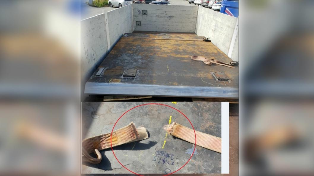 Bildeoppsett av lasten og den dårlige lastsikringen.