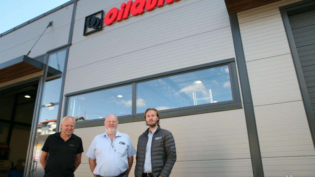 OTS Trading AS er historie, nå er navnet OilQuick Norge AS, her representert med Axel (t.h.) og Ole Siem og Kjell Svanberg.
