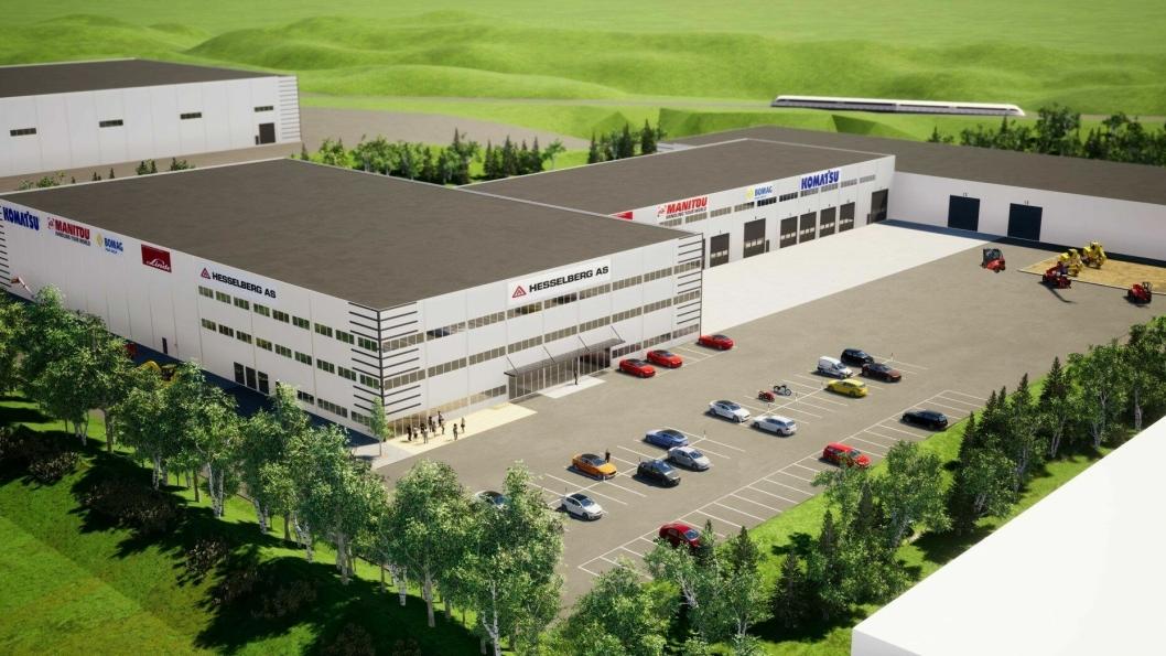 Slik skal det nye hovedkontoret til Hesselberg-konsernet se ut når det står ferdig ved E6 i Sørum (Akershus) når det står ferdig i 2020.
