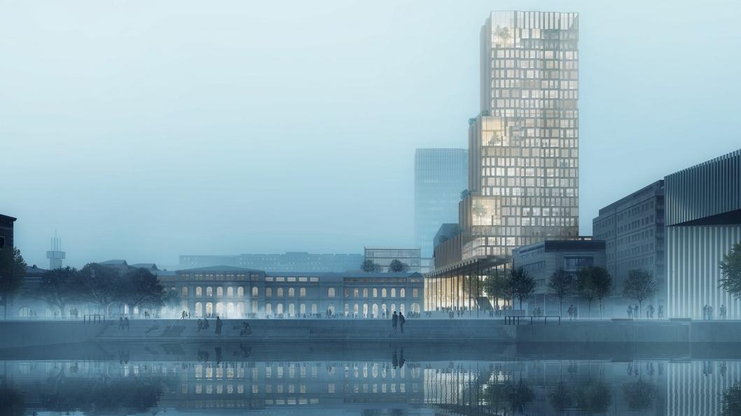 Slik skal det ferdige prosjektet «Nordisk lys» se ut fra vannet.