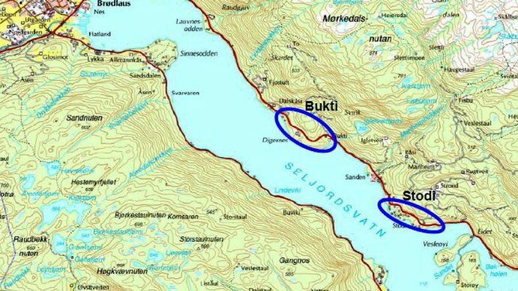 Riksvei 36 skal få bedre standard ved Stodi og Bukti langs Seljordsvatn.
