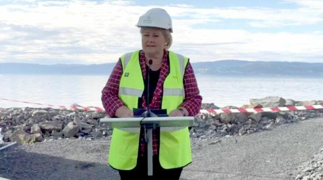 Statminister Erna Solberg åpnet ny biogassfabrikk i Trøndelag søndag 2. september 2018.