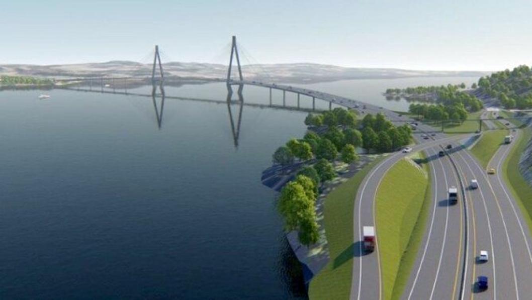 Illustrasjon med forslag til ny Mjøsbru på E6 Hedmark/Oppland.
