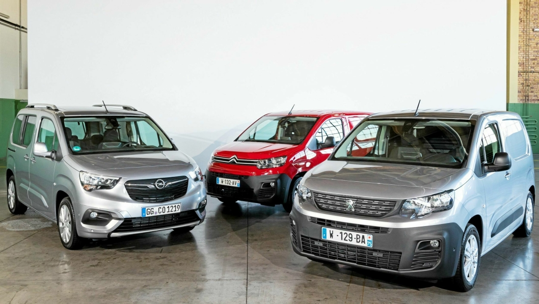 TRE BILER, EN PRIS: Fra venstre: Opel Combo, Citrioën Berlingo og Peugeot Partner.ombo2018 van of the Year