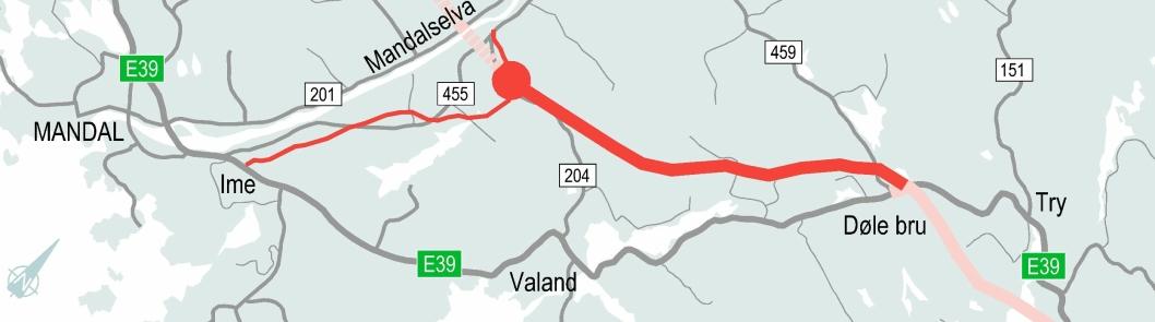Strekningen Mandal øst-Mandal by består av sju kilometer med ny E39 som firefelts motorvei med fartsgrense 110 km/t. I tillegg kommer sju kilometer med tofelts tilkomstvei til Mandal by med fartsgrense 90 km/t.