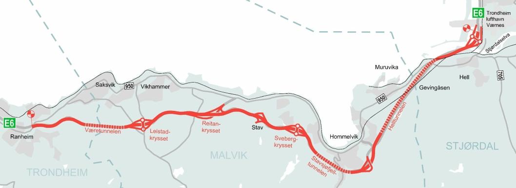 Strekningen det ble skrevet kontrakt på, E6 Ranheim-Værnes med tre tunneler.