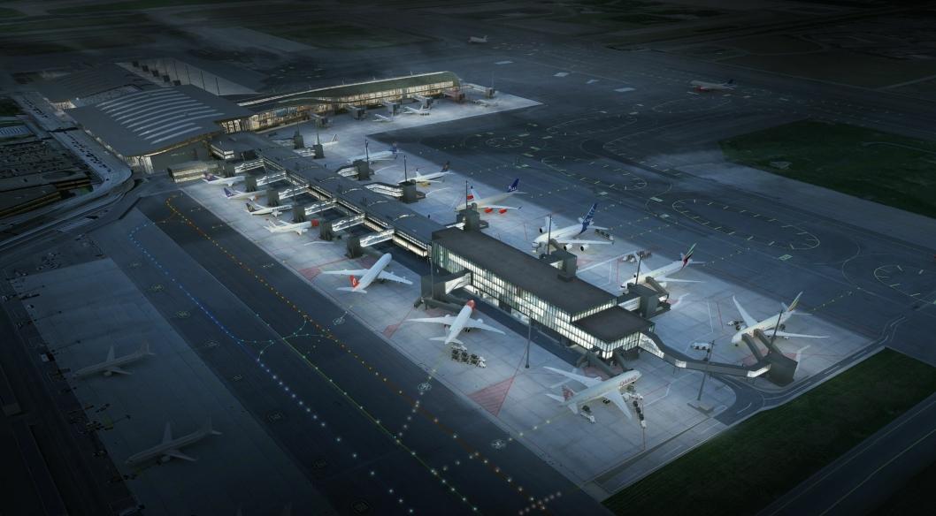 Oslo lufthavn slik den blir etter utvidelsen.