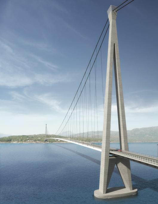KLAR FOR ERNA: Statsministeren blir piken på broen når Hålogalandsbrua skal åpnes i desember.