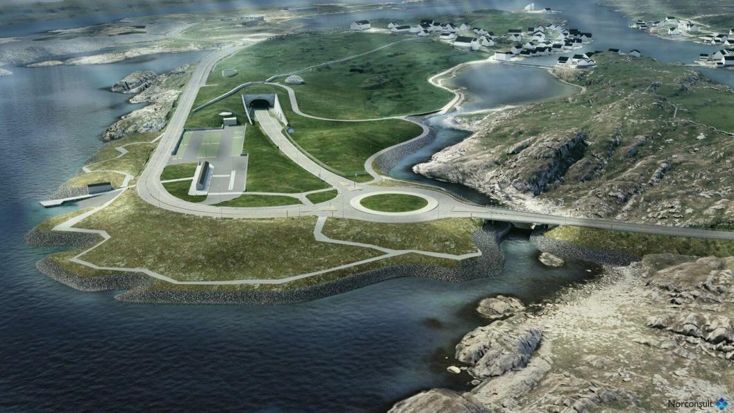 Slik vil det se ut ved tunnelinnslaget på Kvitsøy.