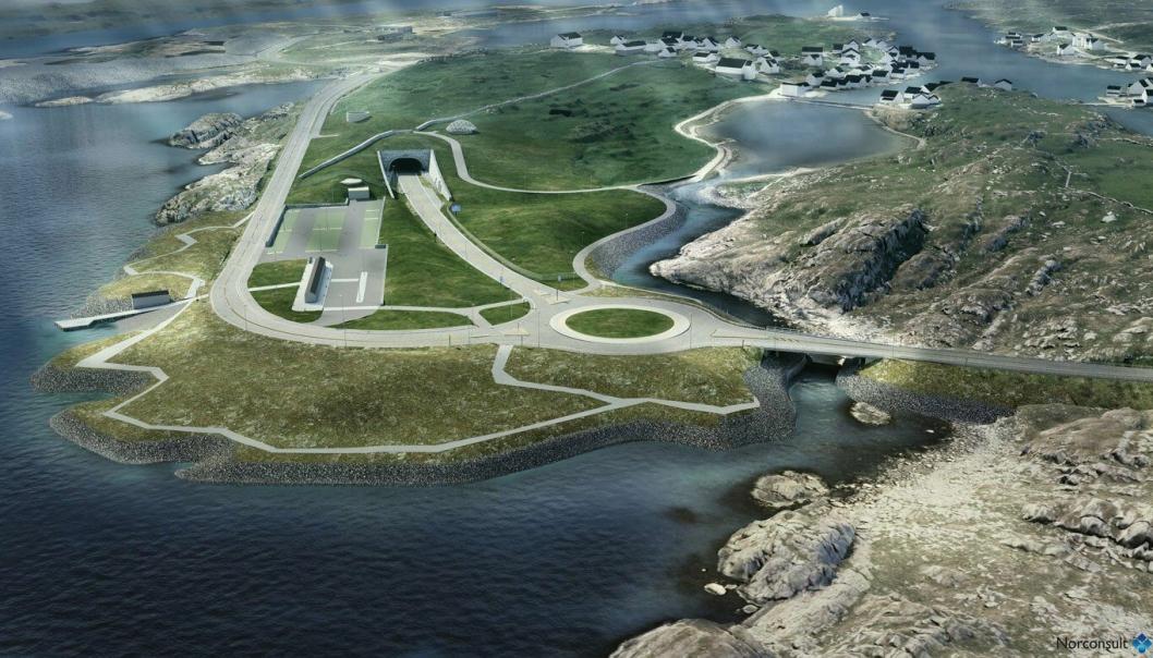 Slik vil det se ut ved tunnelinnslaget på Kvitsøy på Rogfast-tilkoblingen.