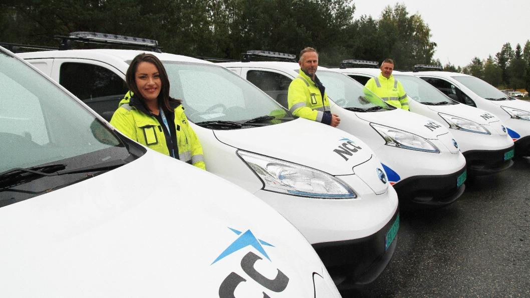 NCC er på vei mot en elektrisk anleggsfremtid. Fra venstre: Prosjektkoordinator Thea Sofie Halvorsen Erdal, avdelingsleder VA NCC Oslo Anders Nordengen og områdesjef NCC Oslo, Svein Nilsplass.