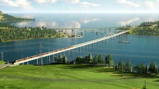Minnevika jernbanebru, som med sine 836 meter blir Norges lengste jernbanebru.