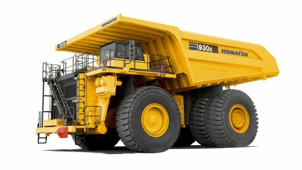 På bildet er en Komatsu 930E-4 med en motorkraft på 2550 hk og lastekapasitet på ca. 292 tonn.Boliden har kjøpt neste generasjon 930E-5.