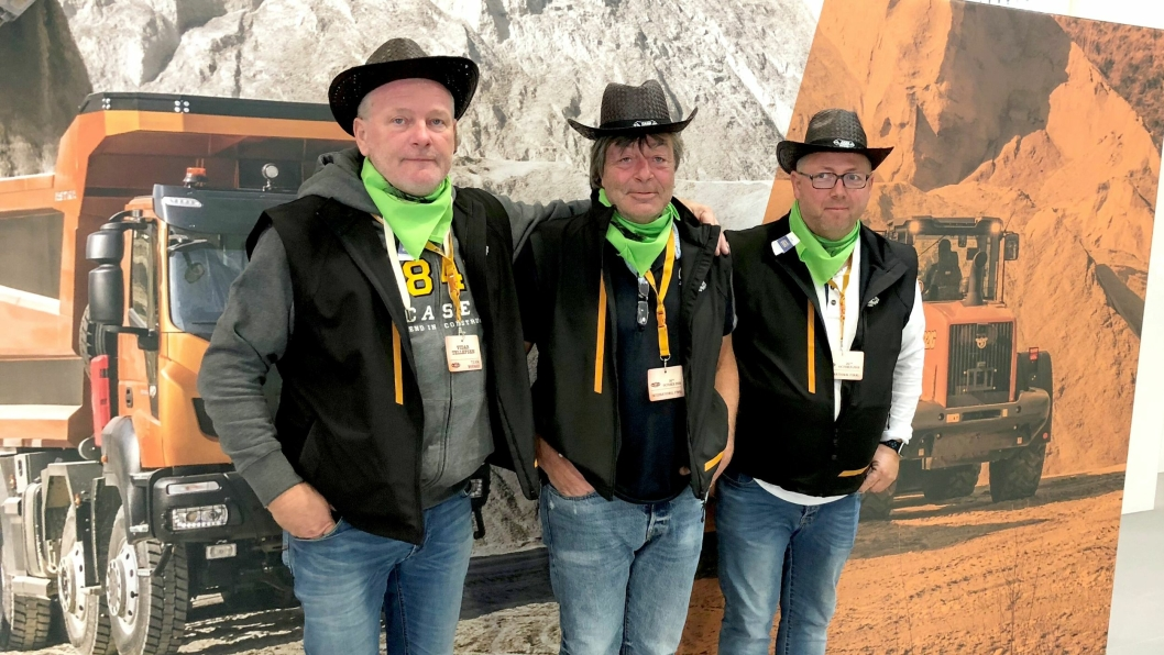 Det norske Case Rodeo-laget. Fra venstre: Vidar Tellefsen (Tellefsen AS), Jan Schikora (Anleggsdrift AS) og Jan Rune Pedersen (Tellefsen AS).