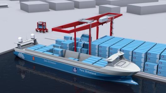 Yara Birkeland blir et elektrisk drevet autonomt skip. Det skal også lastes og losses helautomatisk.