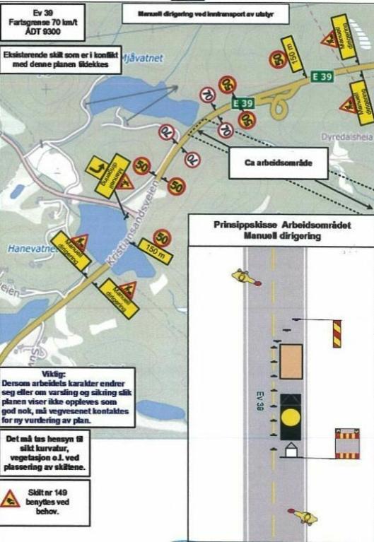 Slik ser skiltplanen ut for området ved Døle bru/Mjåvatn, hvor anleggsarbeidene med ny E39 starter.