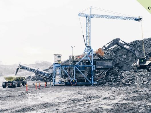 Volvo og Skanska har et pukkverk i Vikan i Göteborg som skal være nesten helt utslippsfritt. Bilde fra 21. november 2018 da resultatene ble sluppet.