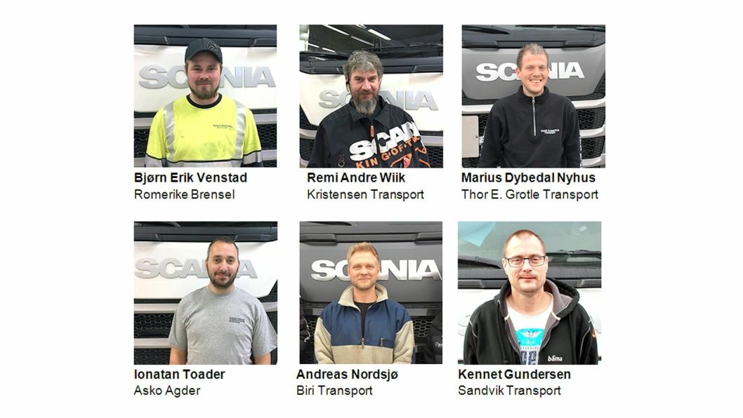 Disse seks kvalifiserte seg til Scania norske finale i Scania Driver Competitions i Trysil. I tillegg er to tidligere mestere kvalifisert til finalen. Så totalt stiller åtte til start i finalen. Vinneren sendes til den europeiske finalen som avholdes ved Scanias hovedkontor i Södertälje i Sverige 25. mai 2019.