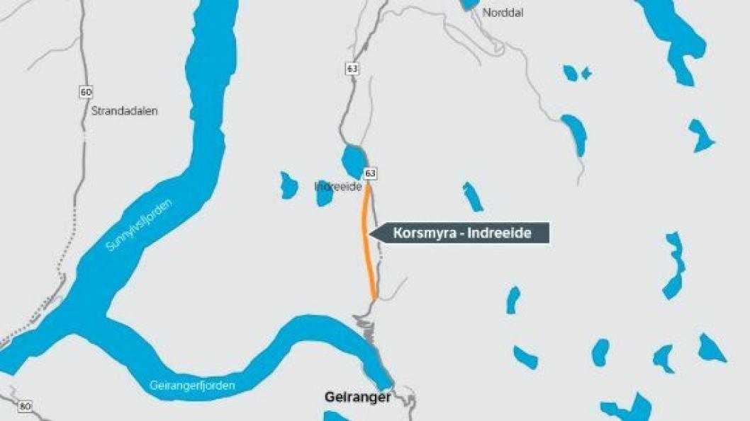 Tunnelen mellom Korsmyra og Indreeide er det høyest prioriterte rassikringsprosjektet på fylkesveiene i Møre og Romsdal. Byggingen av selve tunnelen er planlagt fra høsten 2019 med ferdigstilling høsten 2022.