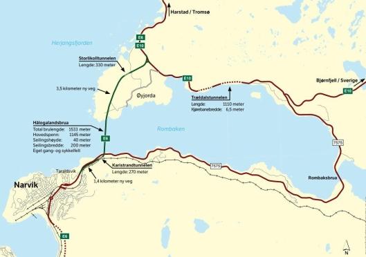 Brua gjør E6 18 km kortere mellom Narvik og Bjerkvik.