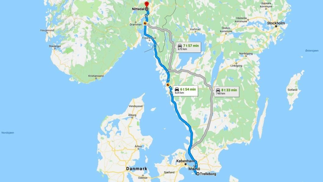 Den vanligste hovedveien mellom Trelleborg og Nittedal markert med blått. Strekningen er på over 60 mil. Føreren av et tyrkisk vogntog manglet 30 mil på fartsskriveren da han ble stoppet av Vegvesenet i desember 2018 i Nittedal.