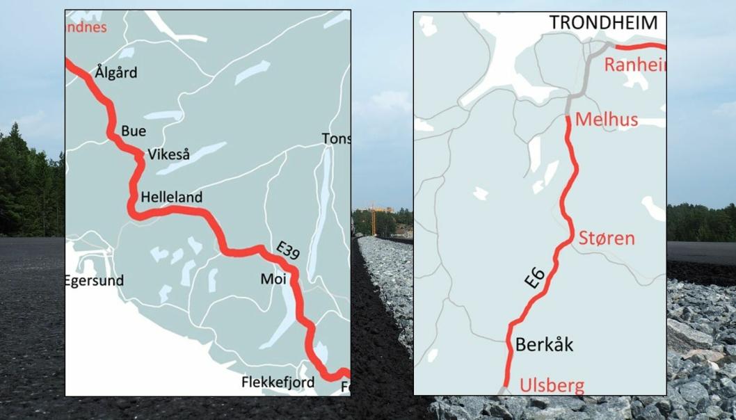 Nye Veier prioriterer strekningene E39 Flekkefjord – Ålgård og E6 Ulsberg – Melhus for utbygging. I tillegg opprettholdes prioriteringen av E6 Moelv – Øyer og E6 Kvål – Melhus, som selskapet gjorde i mai 2018.