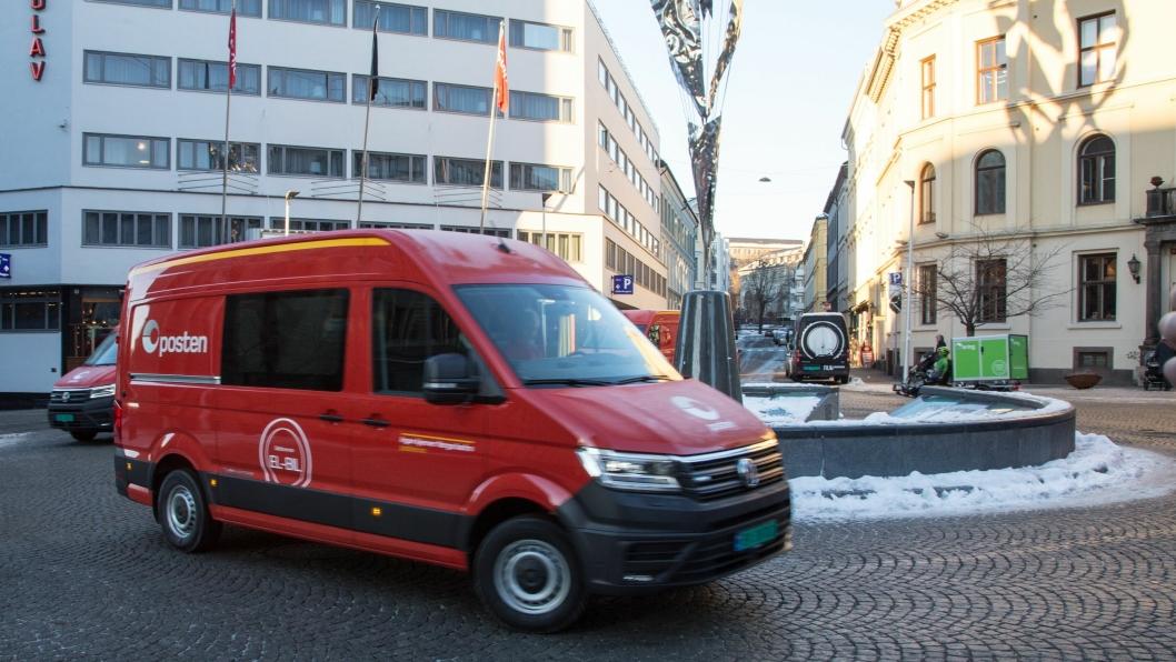 Posten viste fram sine nye elektriske varebiler i Oslo sentrum onsdag 12. desember 2018.