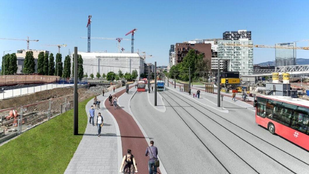Nye Bispegata i Oslo skal bli kollektivgate med trikkespor, og med sykkelfelt bak holdeplassene.
