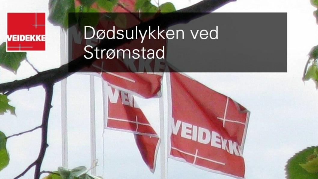 Skjermbilde fra Veidekkes nettside der den triste nyheten, om at en ansatt i datterselskapet Leif Grimsrud Entreprenad AB omkom, står.