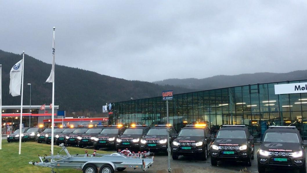13 nye VW Amarok ble overlevert til Tore Løkke AS av Møller Bil Orkdal 4. januar 2019.