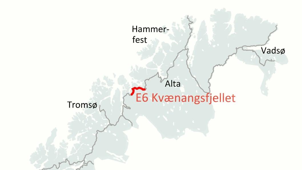TRE NYE: Kartet viser Nye Veiers eksisterende strekninger, samt de tre nye (i mørk rødt).