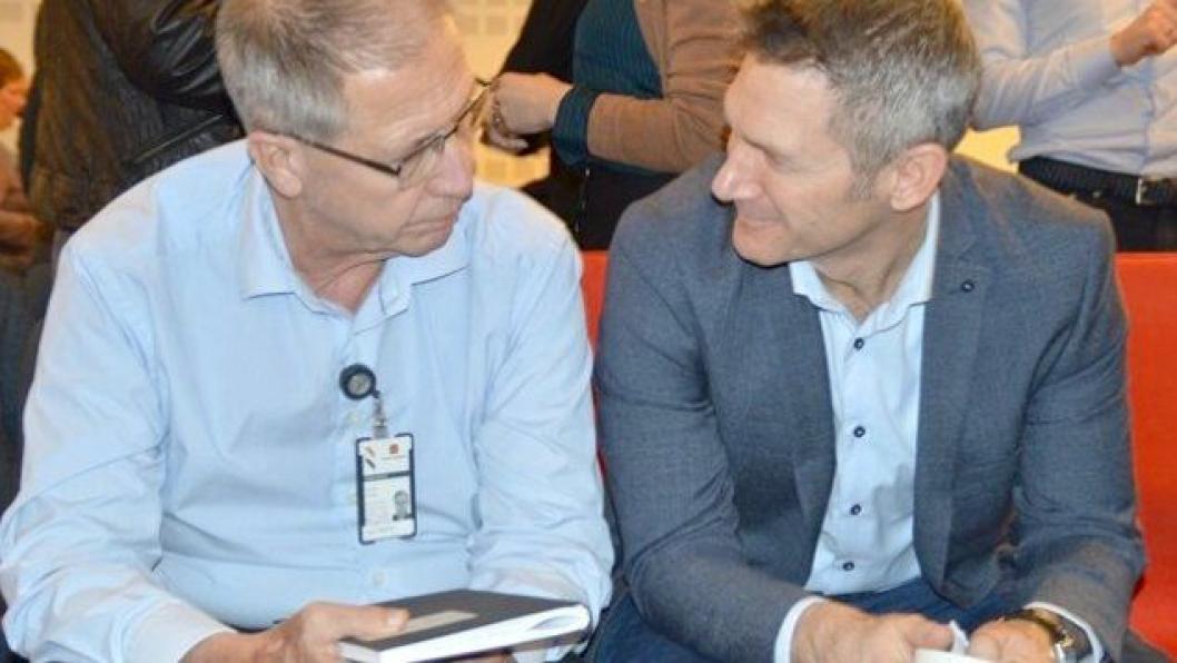 Vegdirektør Terje Moe Gustavsen (t.v.) inviterte anleggsbransjen til dialogmøte, og leder av Krimenheten i Statens vegvesen, Jon Molnes, informerte om hva han har funnet etter ett års arbeid på veiområdet.