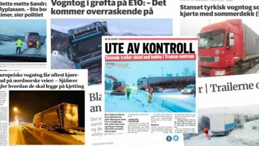 Mange utenlandske vogntog kjører i Norge med dekk som ikke er egnet for vinterbruk. Nå krever NLF endringer i regelverket for å motvirke ulykker. Faksimiler: Framtid i Nord, Nordlys, Fremover