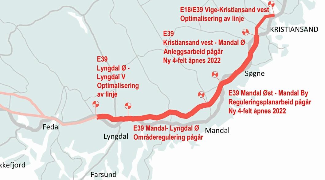 HØY AKTIVITET: Nye Veiers E39-prosjekt fra Kristiansand til Ålgård er delt inn i flere entrepriser. Nå legges det opp til fremskyndet byggestart på flere av delprosjektene.