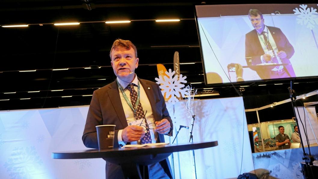 HØY AKTIVITET - OGSÅ UTFORDRINGER: Styreleder Arnstein Repstad i Maskinentreprenørenes Forbund (MEF) belyste flere utfordringer da han åpnet Arctic Entrepreneur 2019 i The Qube på Gardermoen 22. januar 2019.