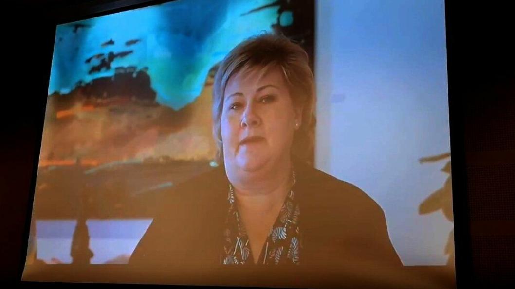 Videobilde av Erna Solberg