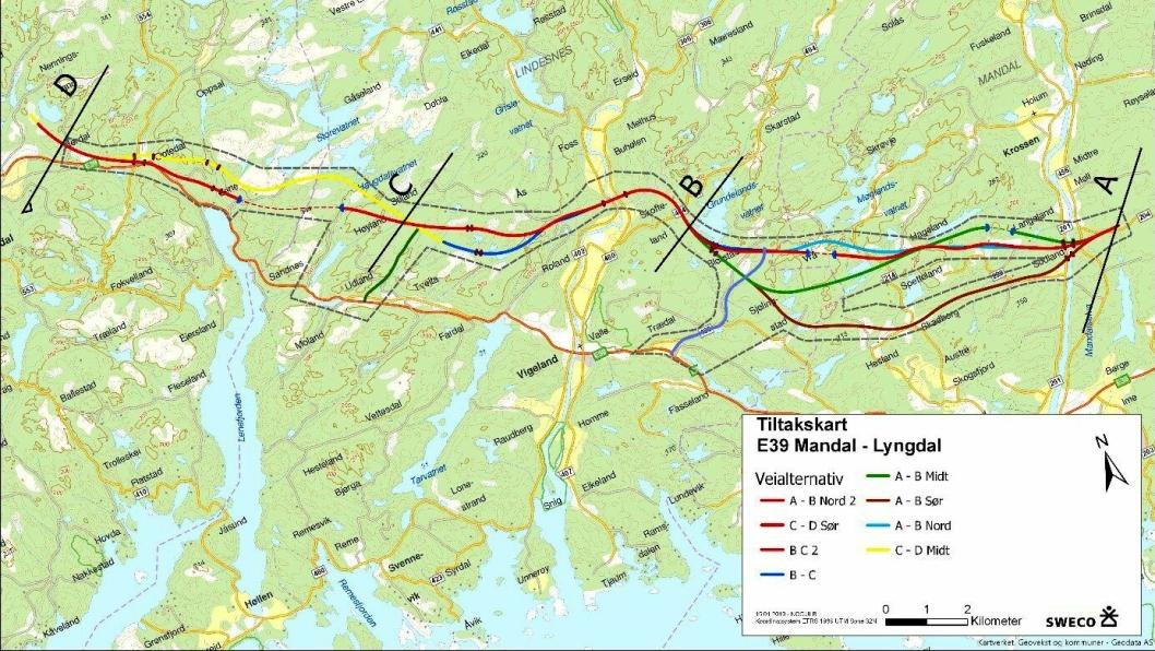 Illustrasjonen viser planområdet oppdatert med veialternativ A-B Nord 2 og B-C 2.